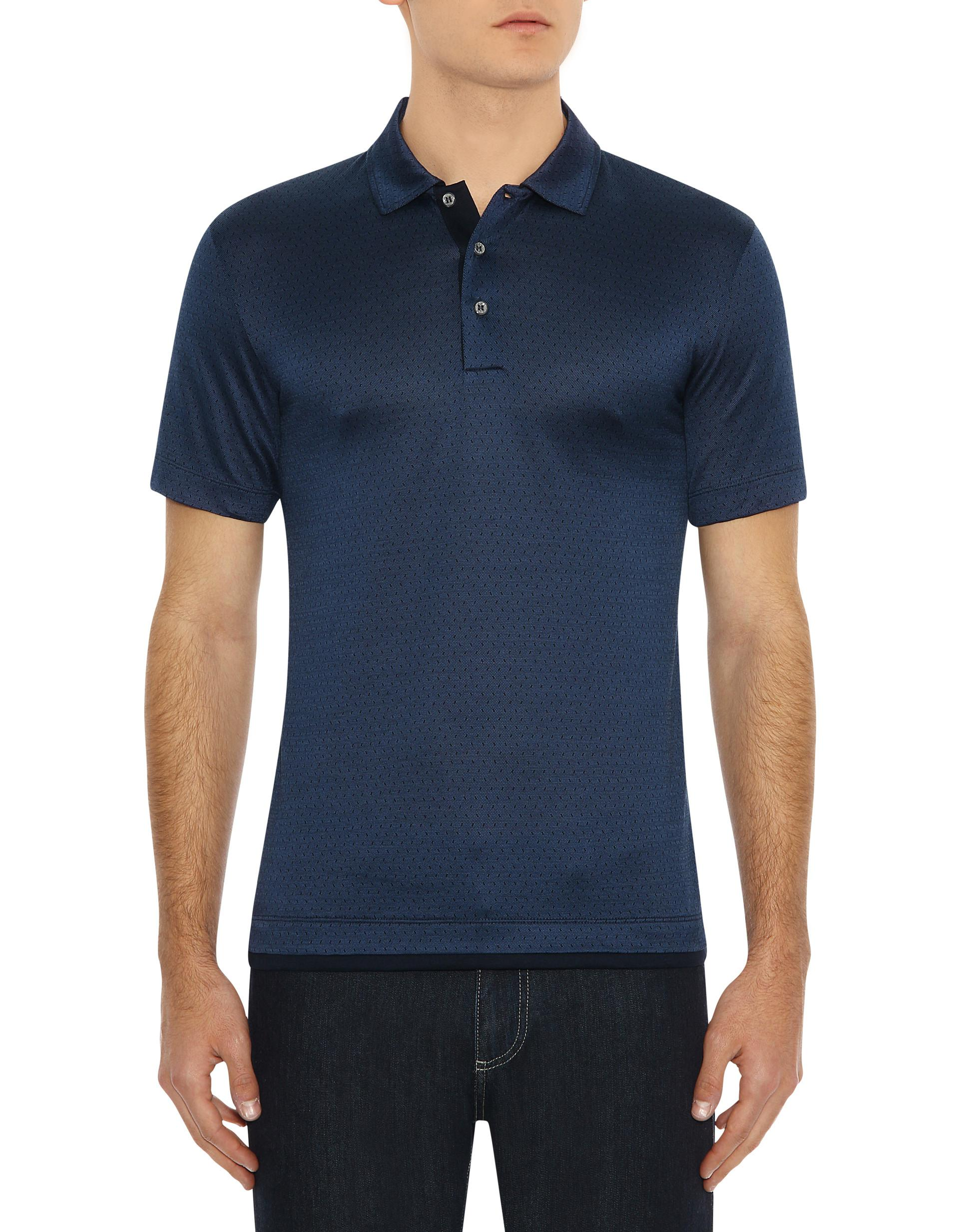 117fd7322ce Canali - Dark Blue Mercerized Cotton Polo Shirt With Micro-motif for Men -  Lyst. View fullscreen
