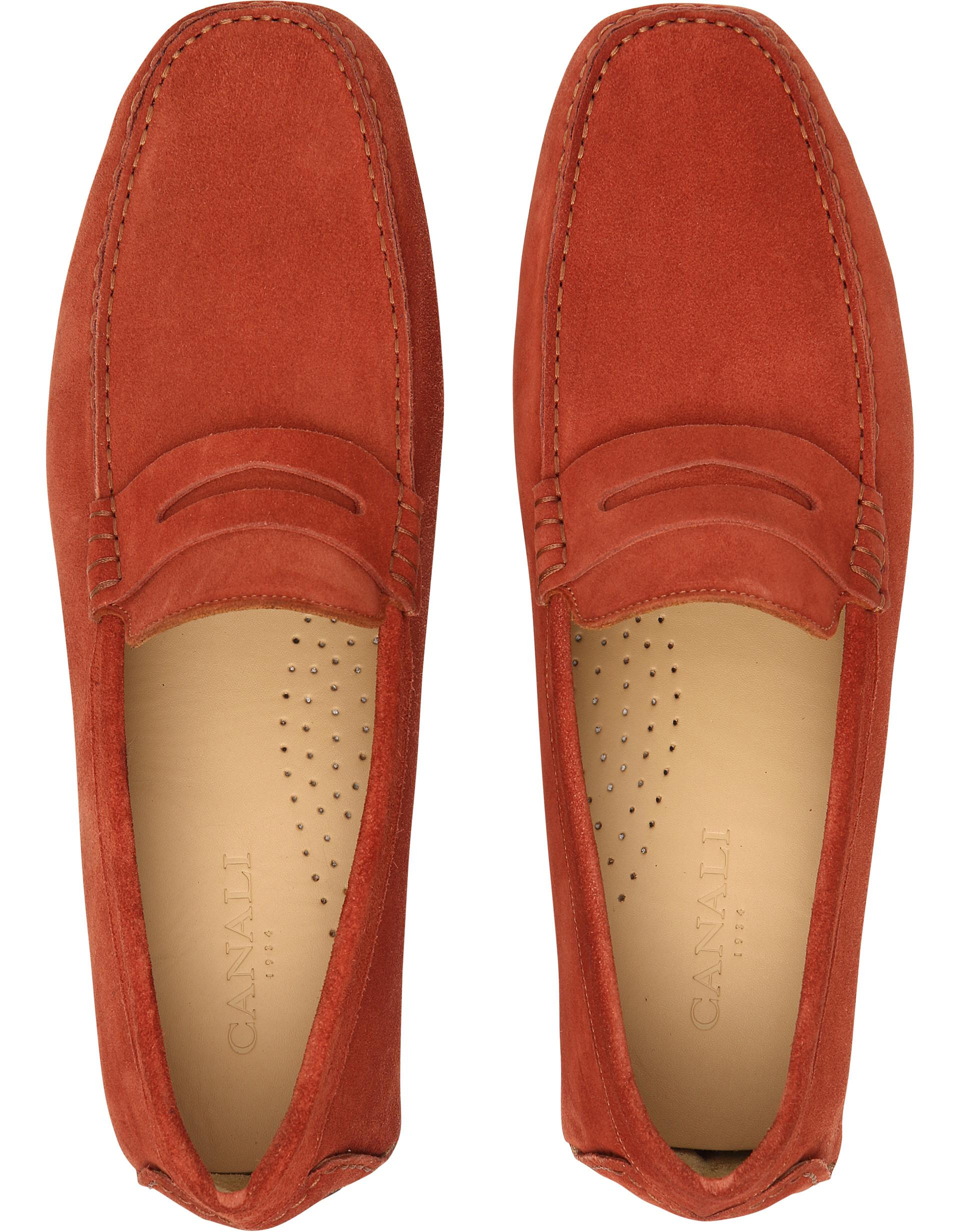 Canali Red Suede Penny Driving Loafers for Men - Lyst