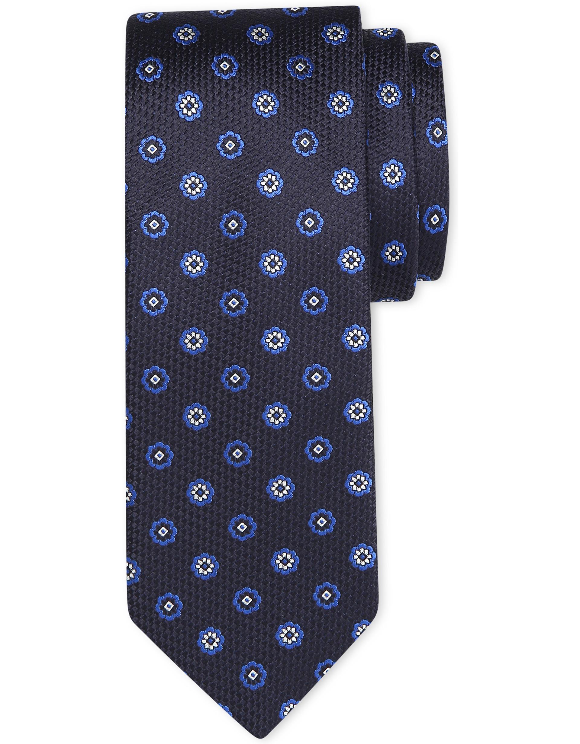 e7b3cd097078 Canali Dark Blue Tie With Floral Ornamental Motif In Pure Silk in ...