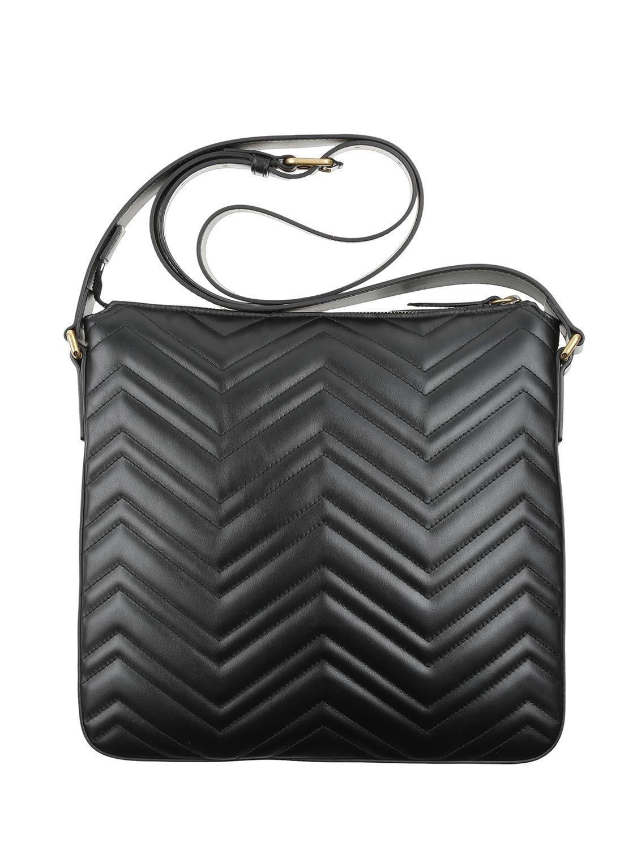 b36b62b97 Gucci Shoulder Bag In Black Matelassé Leather With Chevron Pattern in Black  - Lyst
