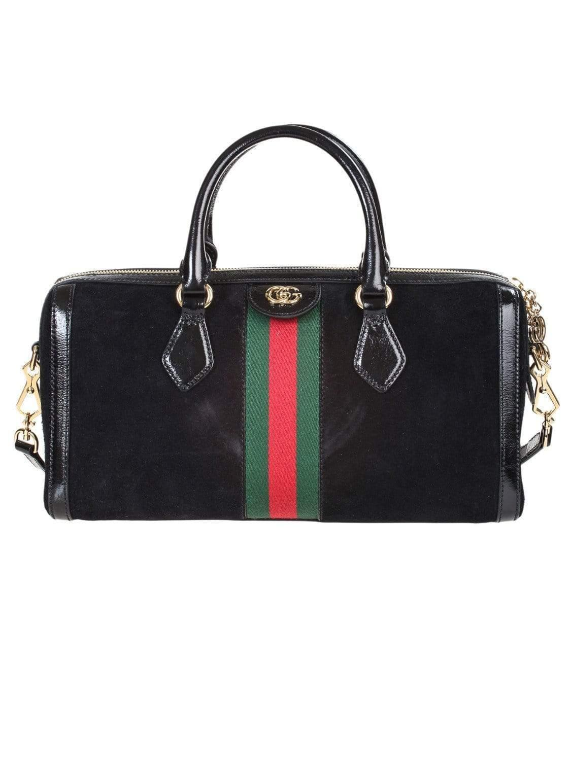 dfea748de10a Lyst - Gucci Ophidia Patent Leather-trimmed Suede Tote in Black ...