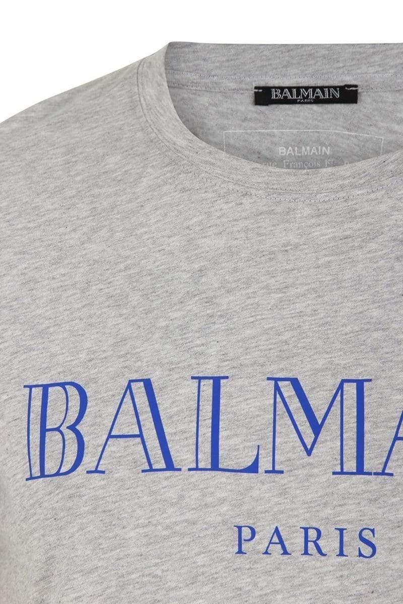 5d771fc3a Balmain Logo T-shirt in Gray for Men - Lyst