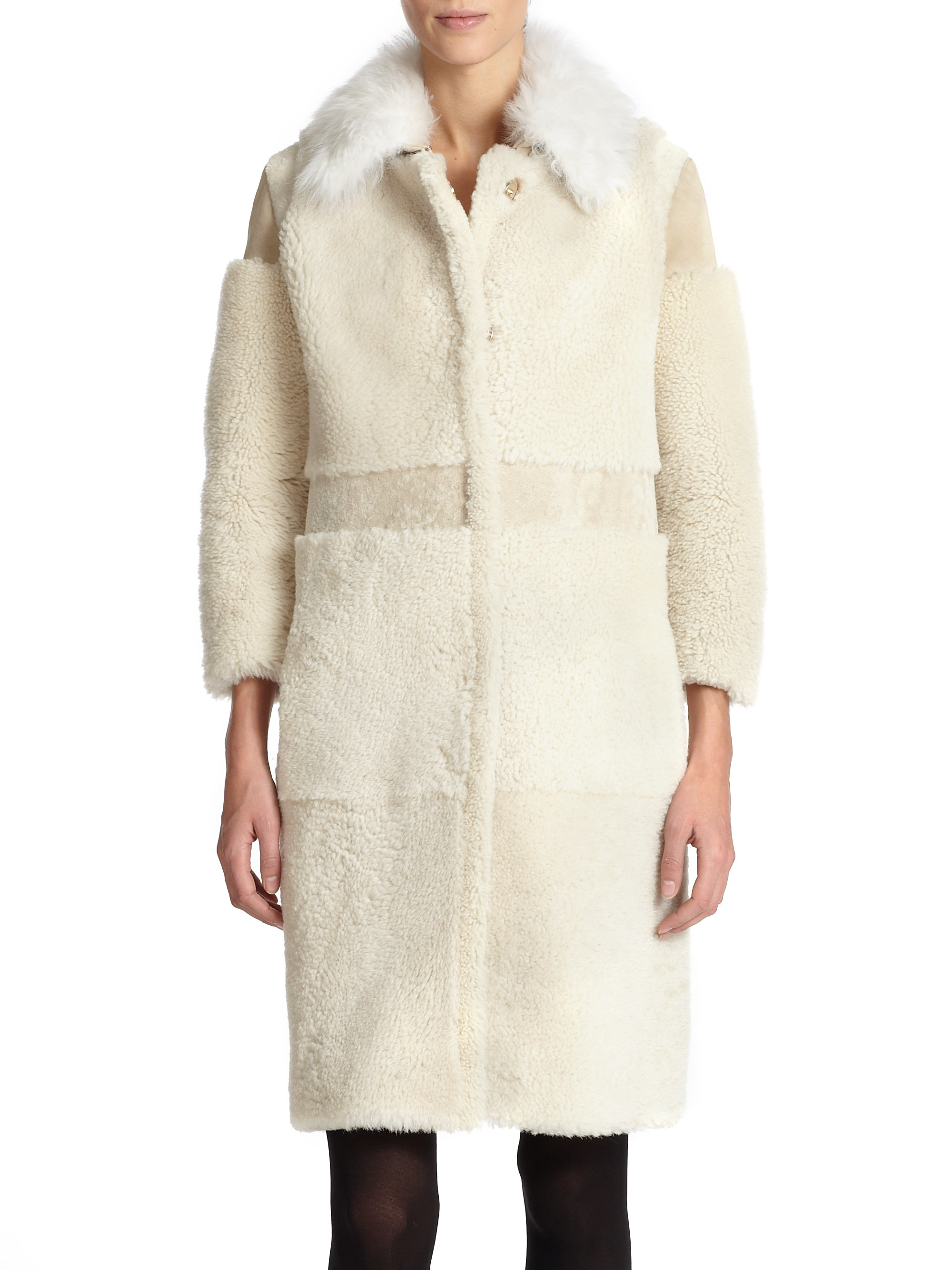 Burberry prorsum Shearling Patchwork Coat in White | Lyst