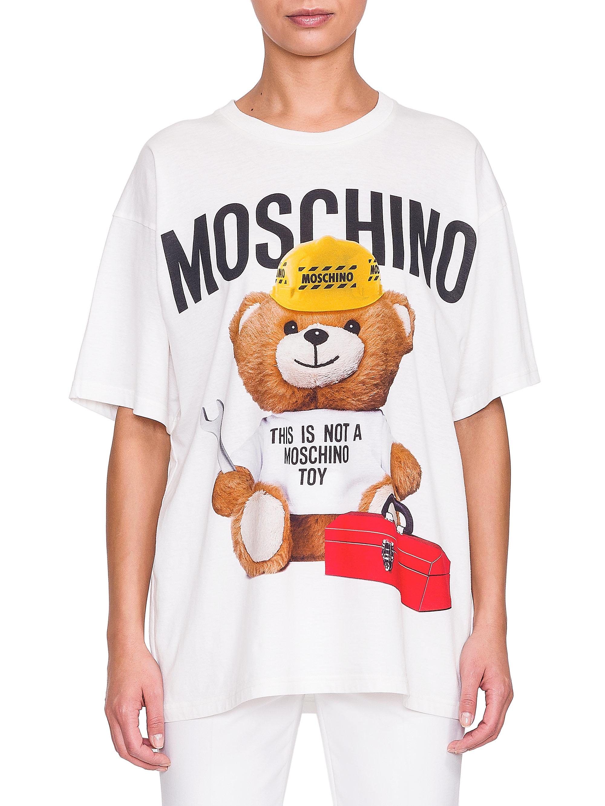 58d5d3534 Moschino Teddy Bear Logo Tee in White - Lyst