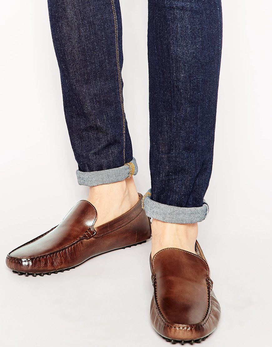 aldo brilicien leather driving shoes in brown for lyst