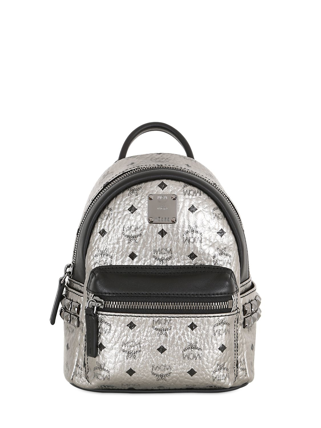 mcm extra mini stark laminated backpack in silver lyst. Black Bedroom Furniture Sets. Home Design Ideas