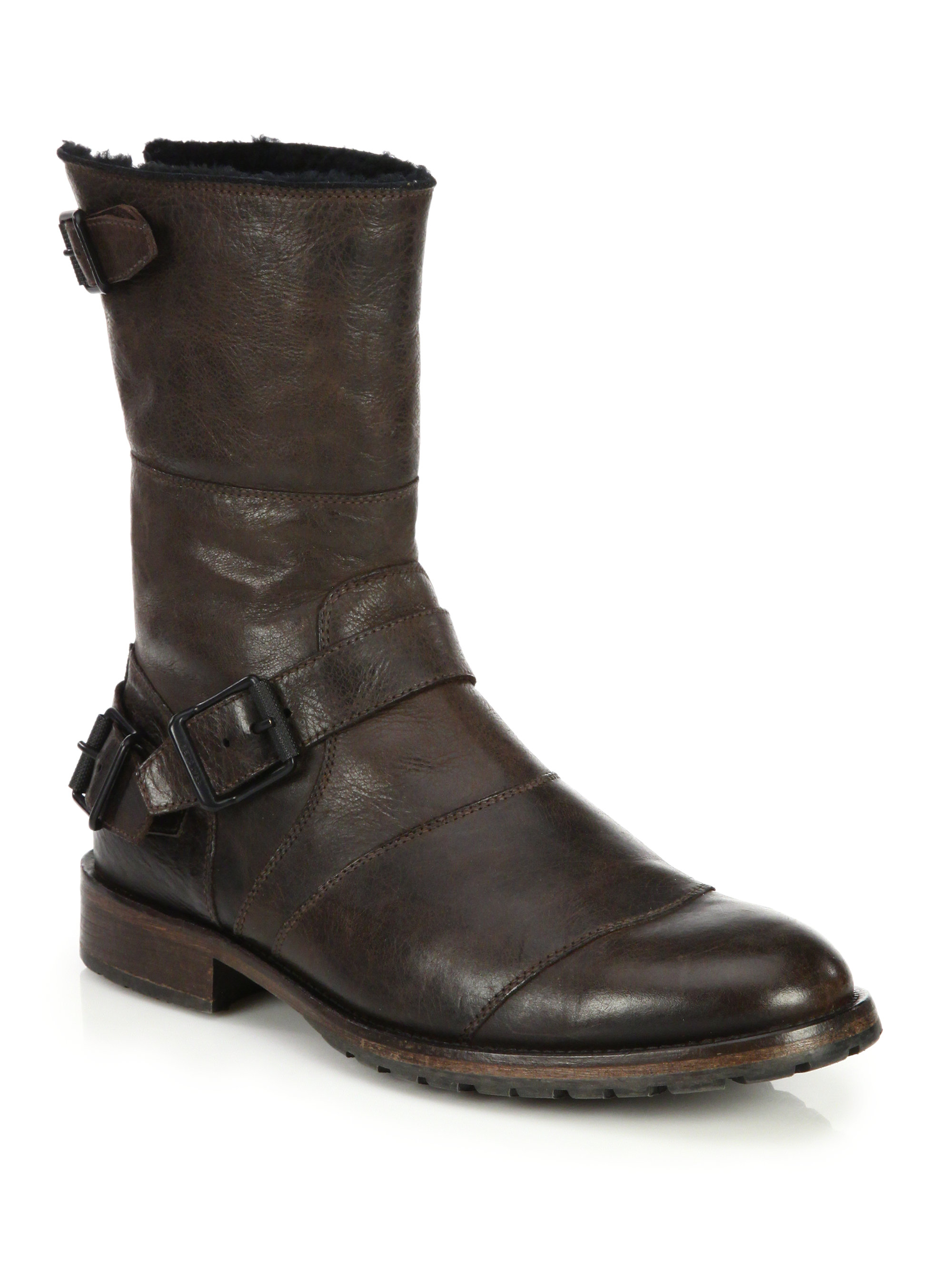 belstaff benhurst shearling lined leather boots in black