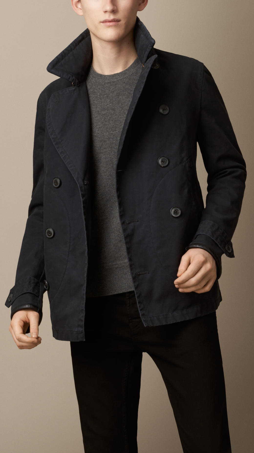 Lyst Burberry Brushed Cotton Pea Coat With Leather Trim