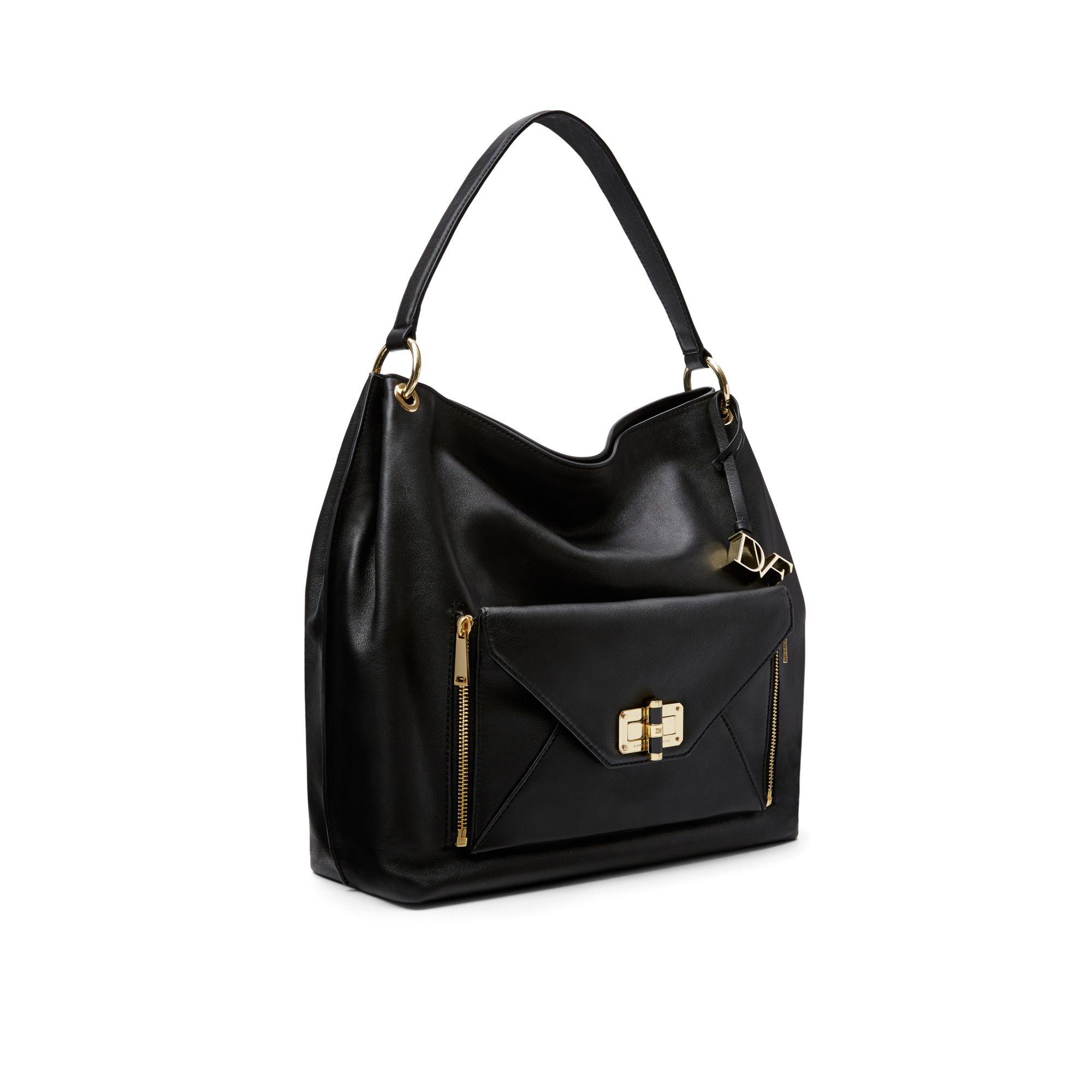 42ab7e8f4c Gallery. Lyst Diane Von Furstenberg Secret Agent Leather Hobo Bag In Black