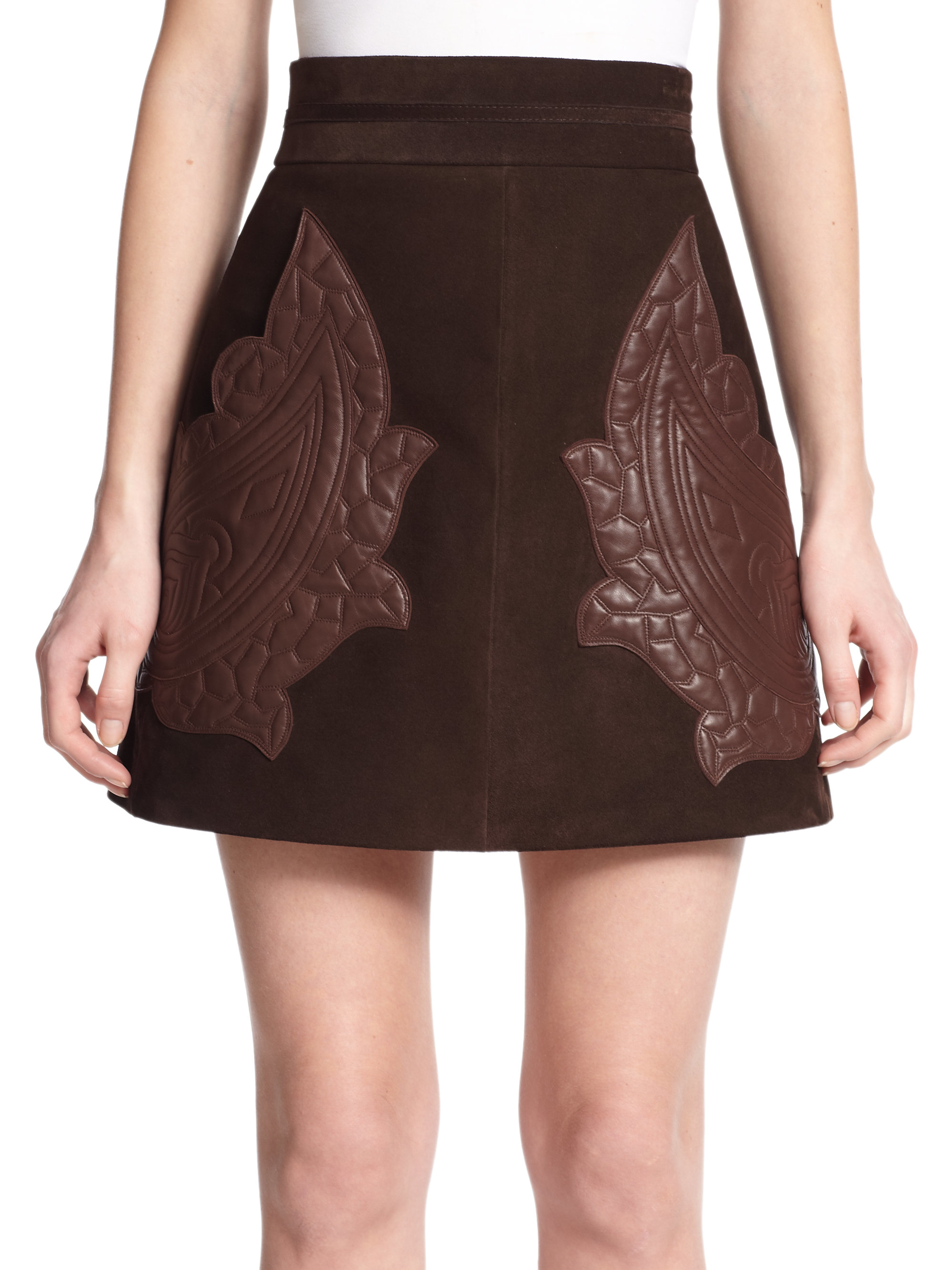 Chloé Paisley-stitched Leather & Suede Skirt in Brown | Lyst