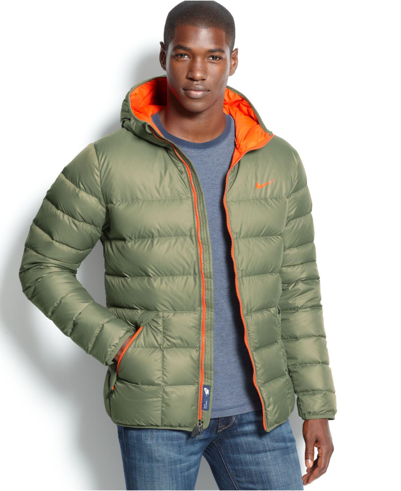 fd30a39e99aa Lyst - Nike Alli Hooded Down Puffer Coat in Green for Men