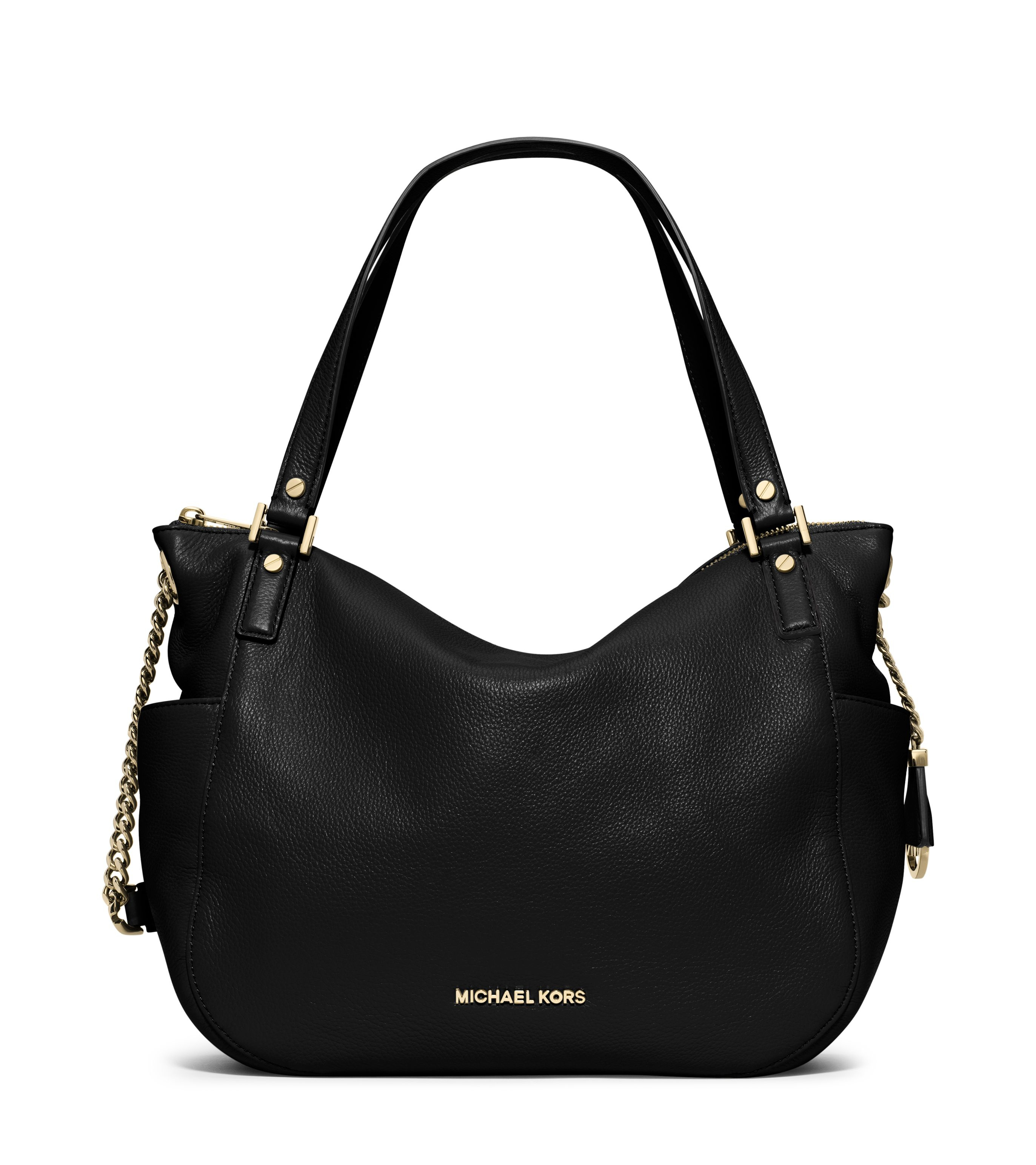 michael kors chandler black chain hobo bag in black lyst. Black Bedroom Furniture Sets. Home Design Ideas