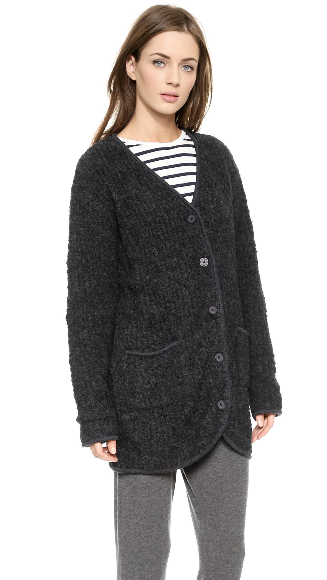 Velvet Garcelle Boucle Sweater Coat in Gray | Lyst