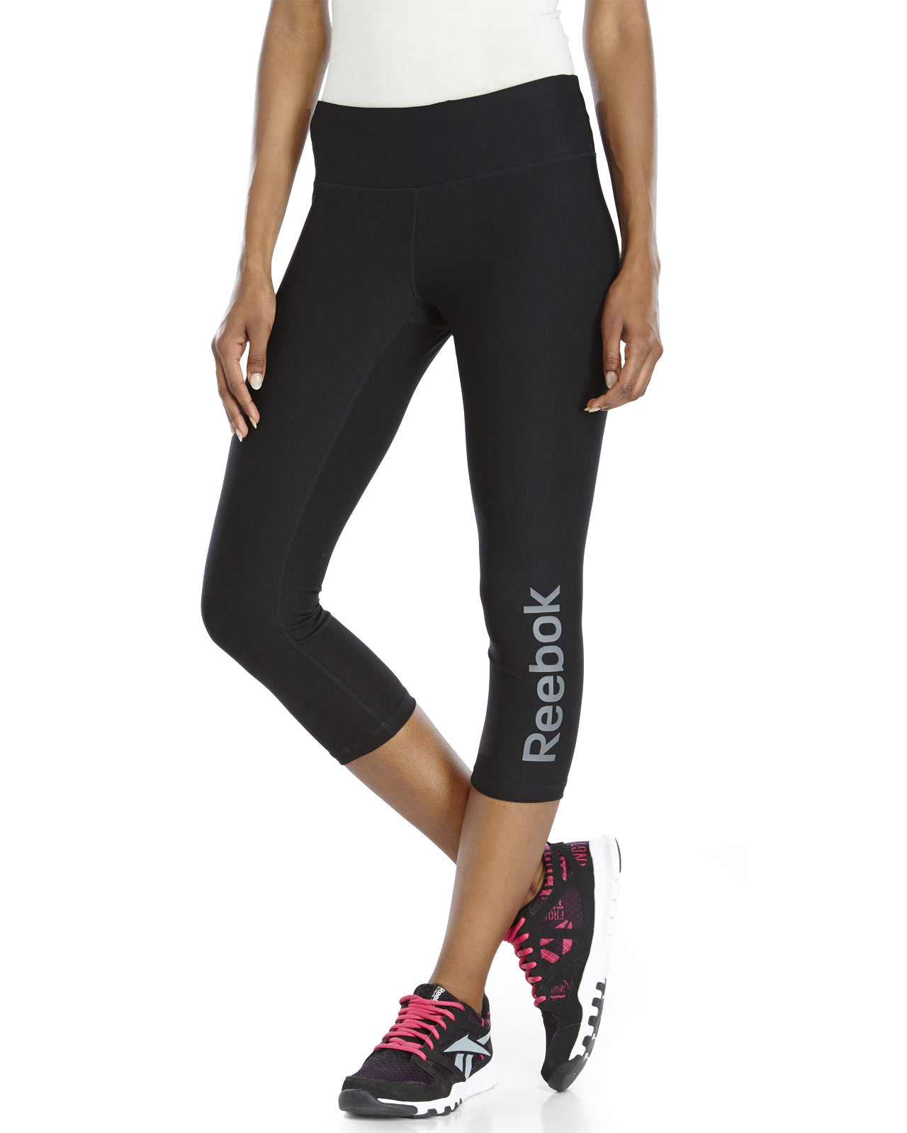 Reebok Logo Athletic Capri Pants in Black | Lyst