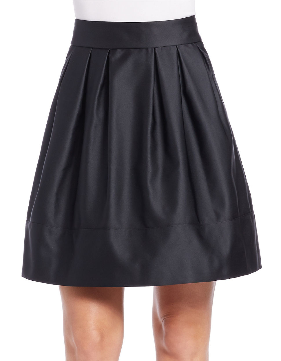 essentiel antwerp pleated satin skirt in gray lyst
