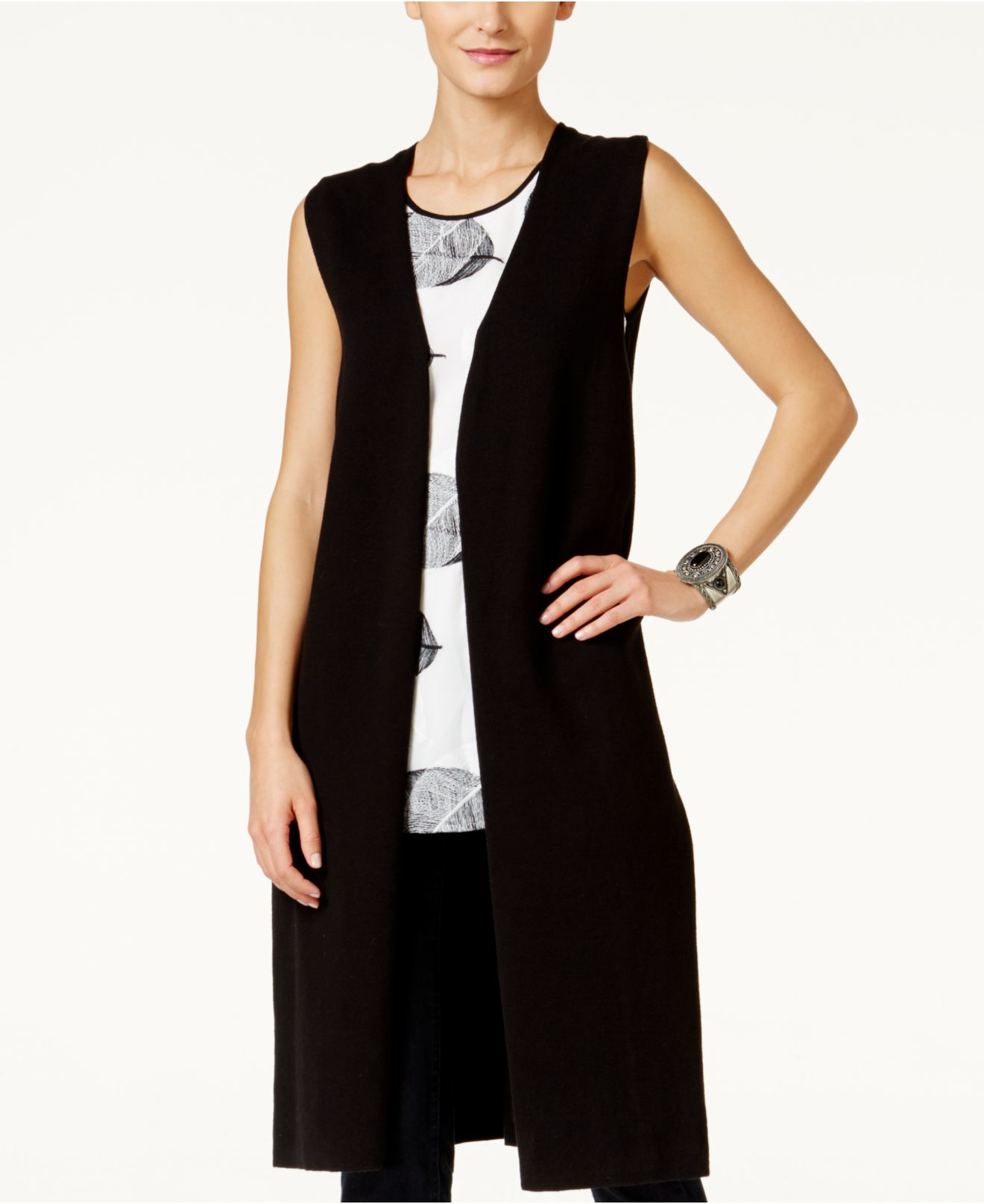 Vince camuto Open-front Long Sweater Vest in Black | Lyst