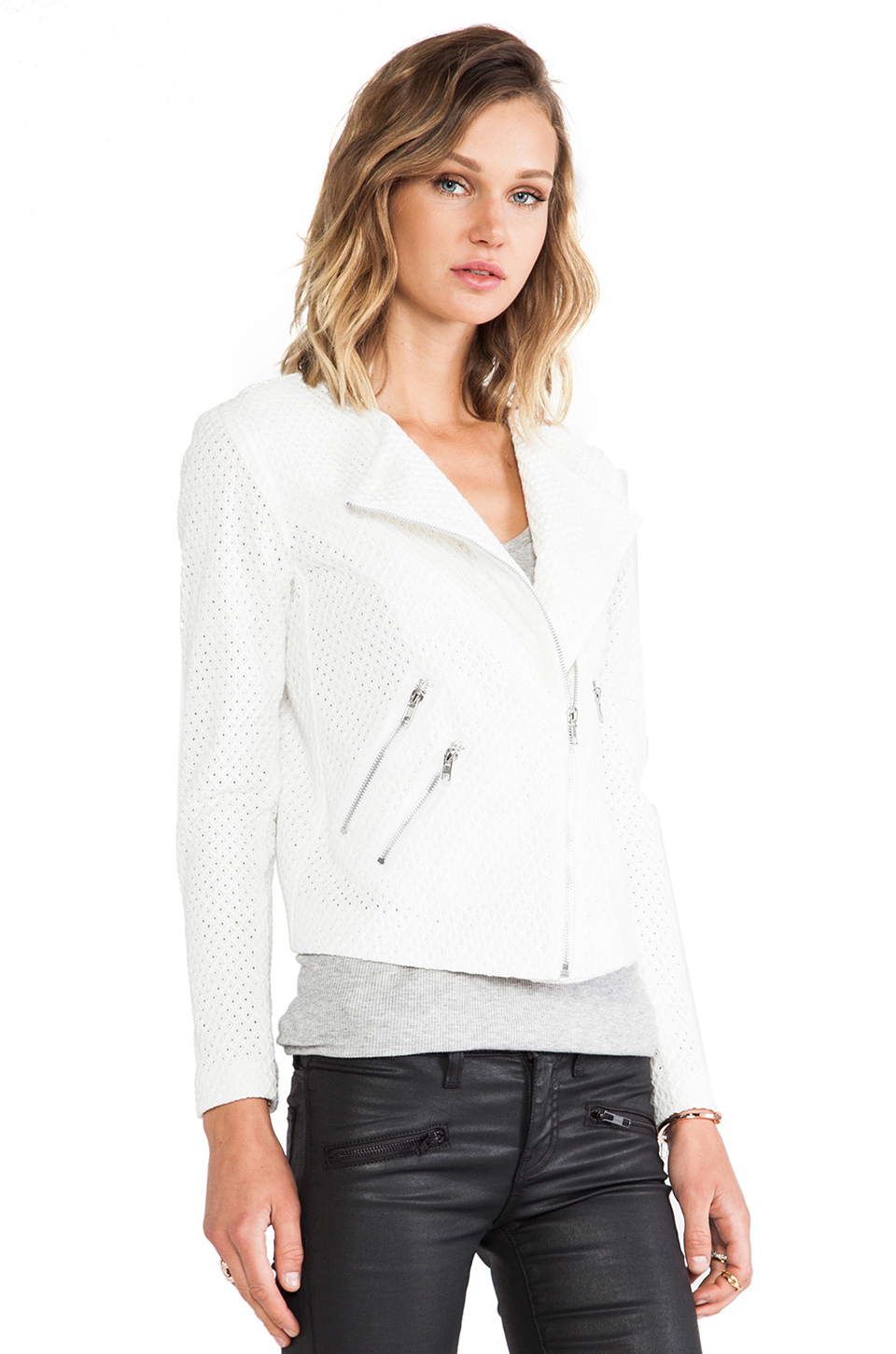 Lyst Generation Love Duncan Eyelet Moto Jacket In White