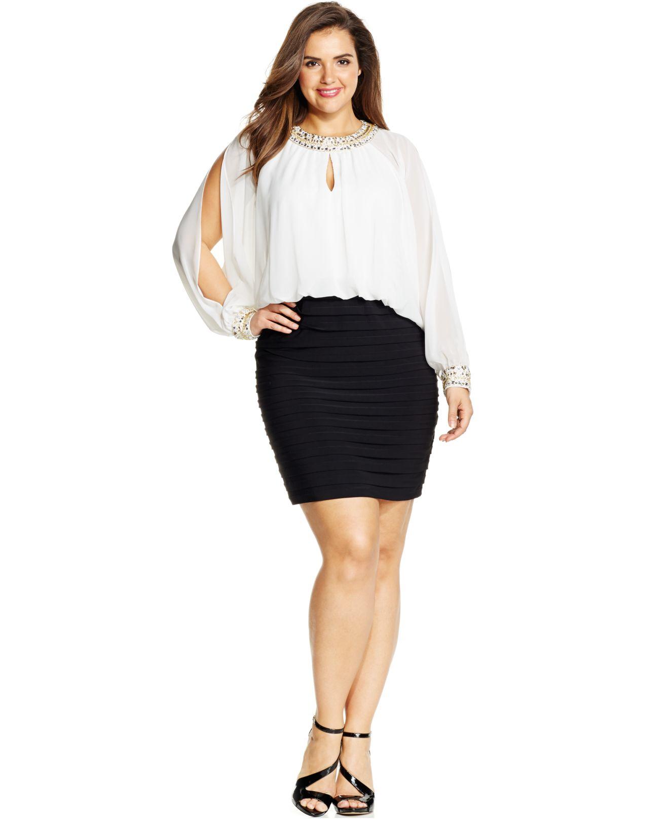 xscape plus size colorblocked cold-shoulder blouson dress in white