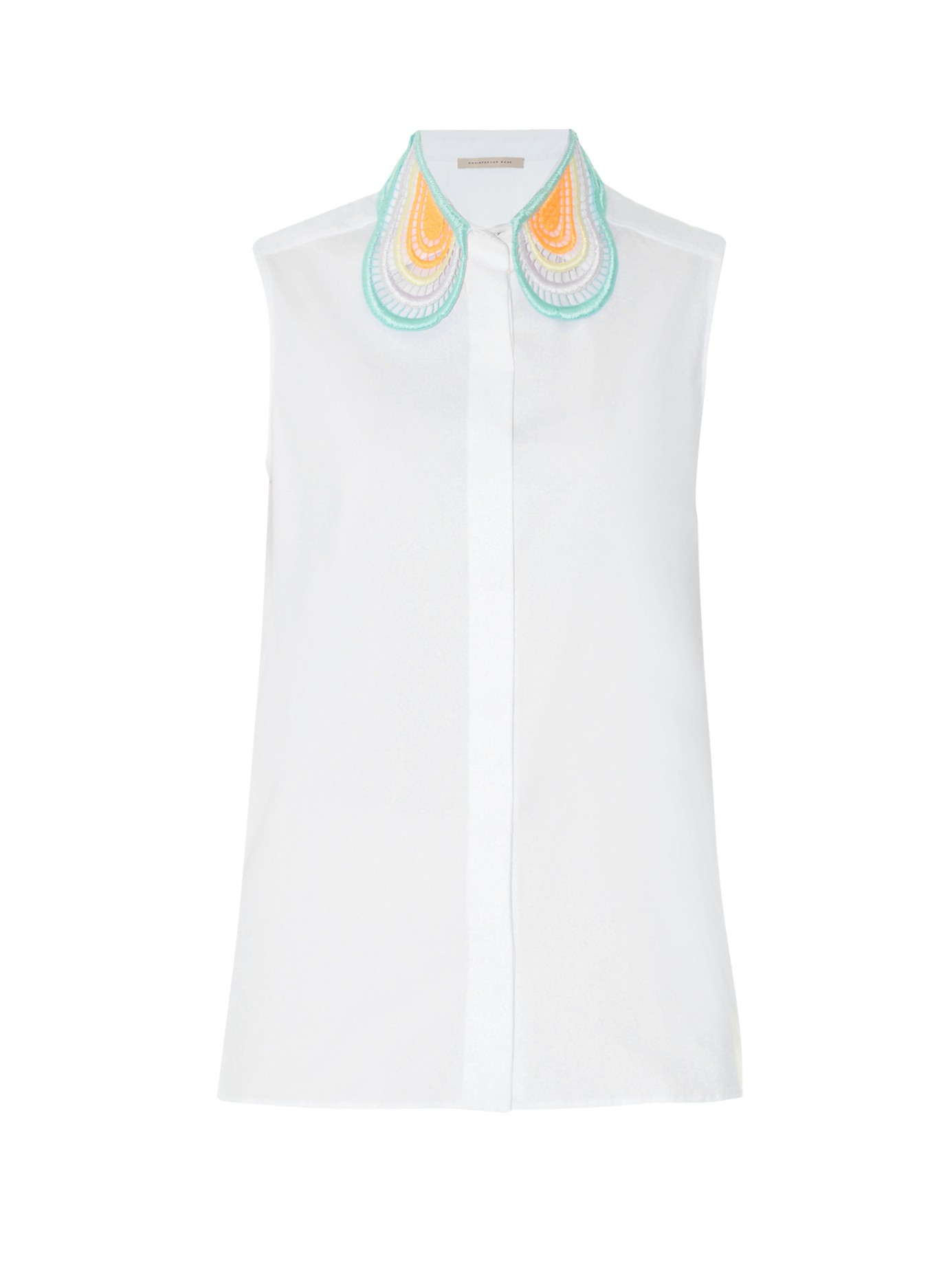 Christopher Kane Lace Collar Sleeveless Cotton Shirt In