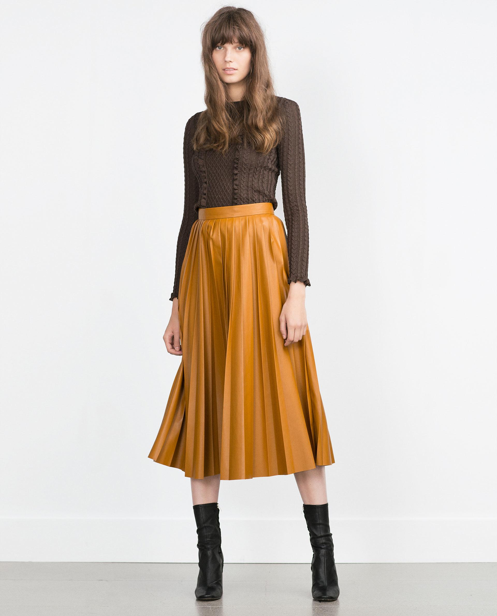 Zara Pleated Midi Skirt in Yellow | Lyst