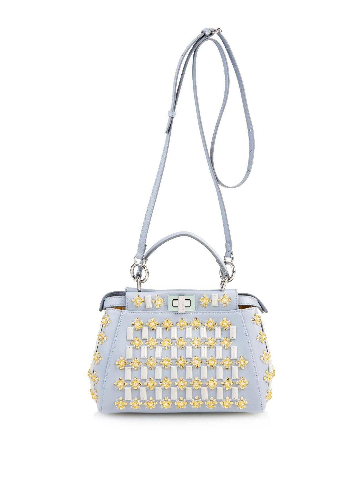 Fendi Mini Peekaboo Floral-Embellishments Cross-Body Bag In Blue (BLUE MULTI) | Lyst