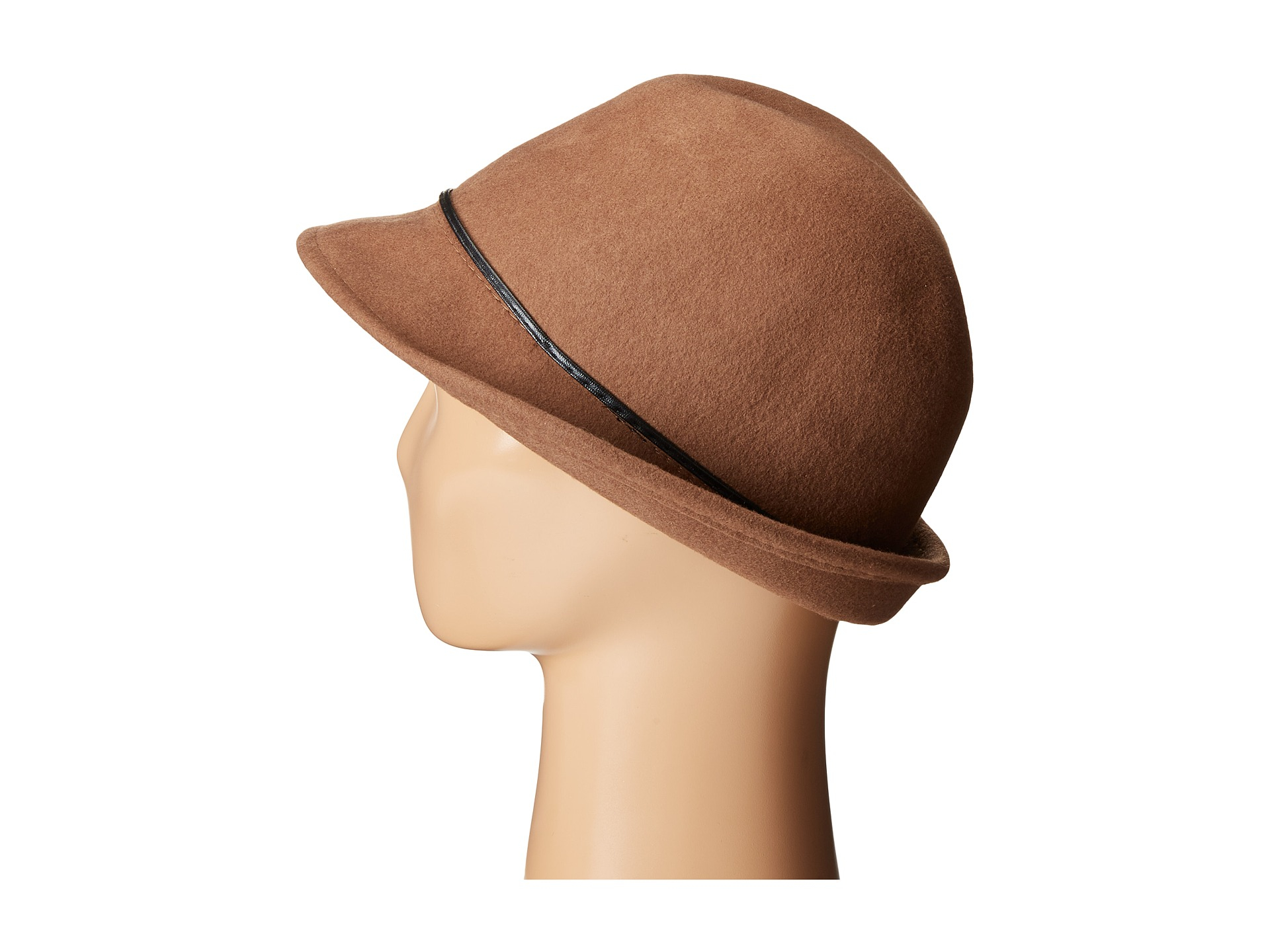 2006ec7f543 Lyst - Scala Wool Felt Fedora With Faux Leather Trim And Bow in Brown