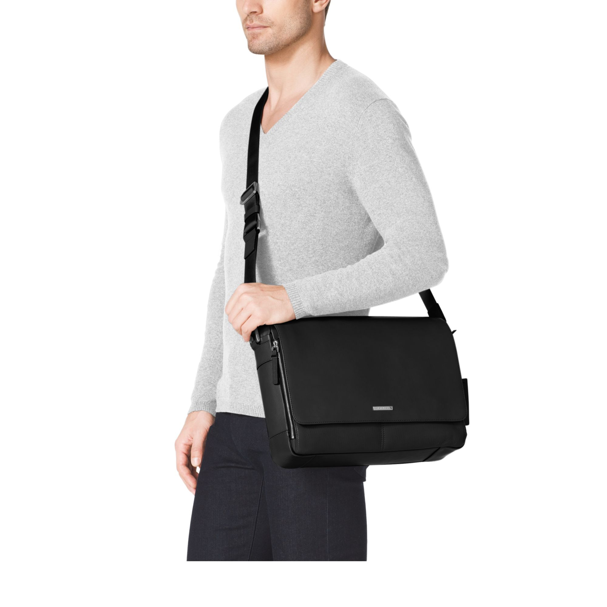 2a65dcb467ca Lyst - Michael Kors Warren Large Leather Messenger in Black for Men