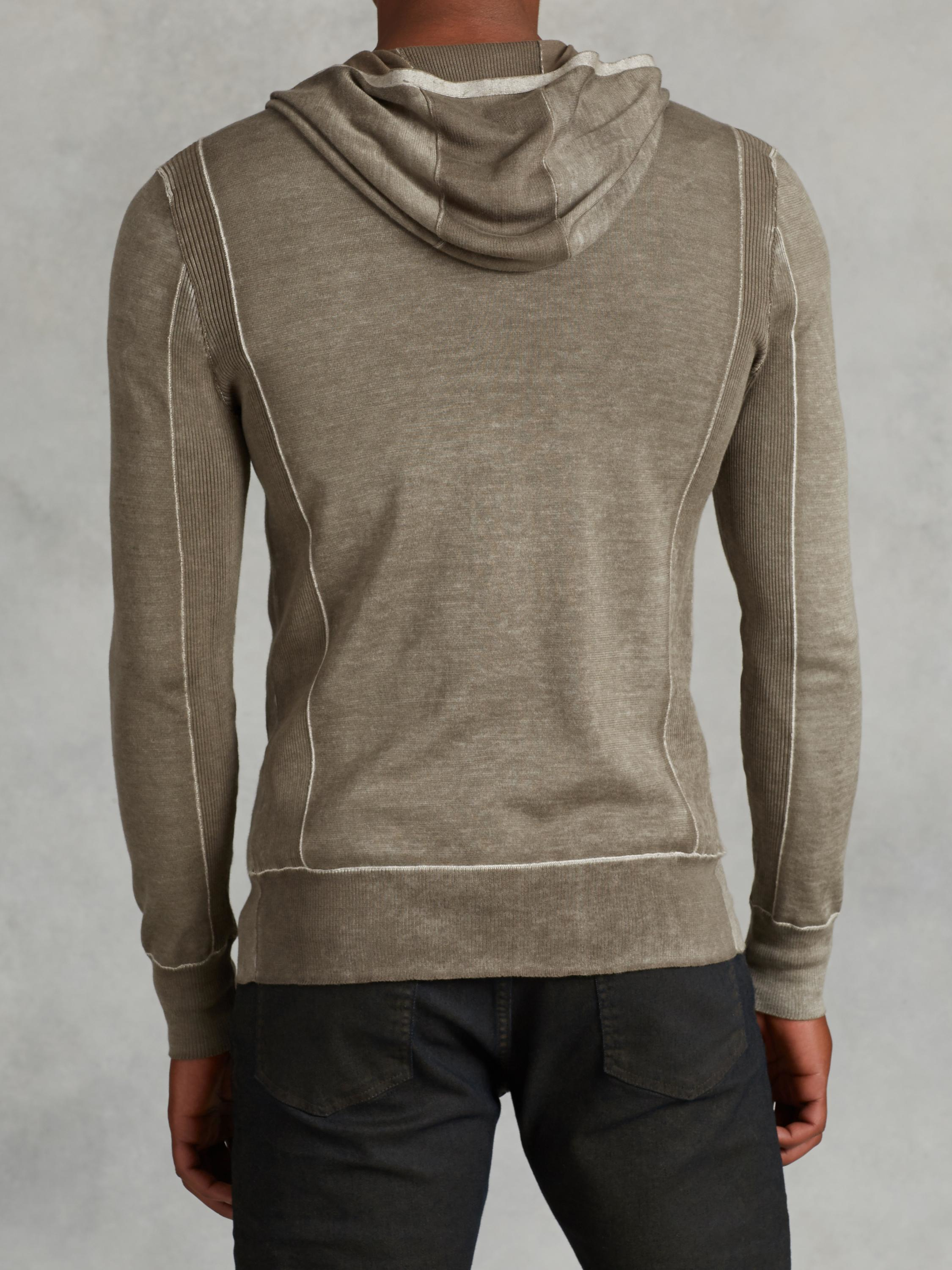 John varvatos Silk Cotton Hooded Sweater in Natural for Men | Lyst