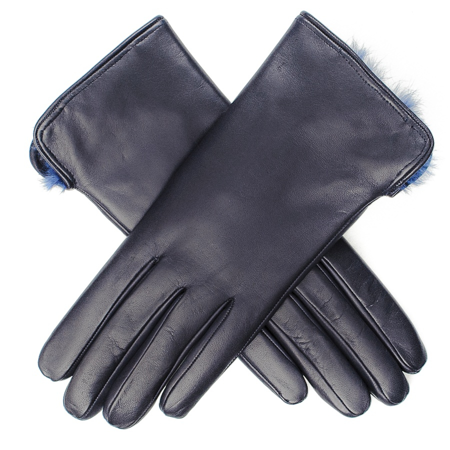 Ladies leather gloves navy - Gallery