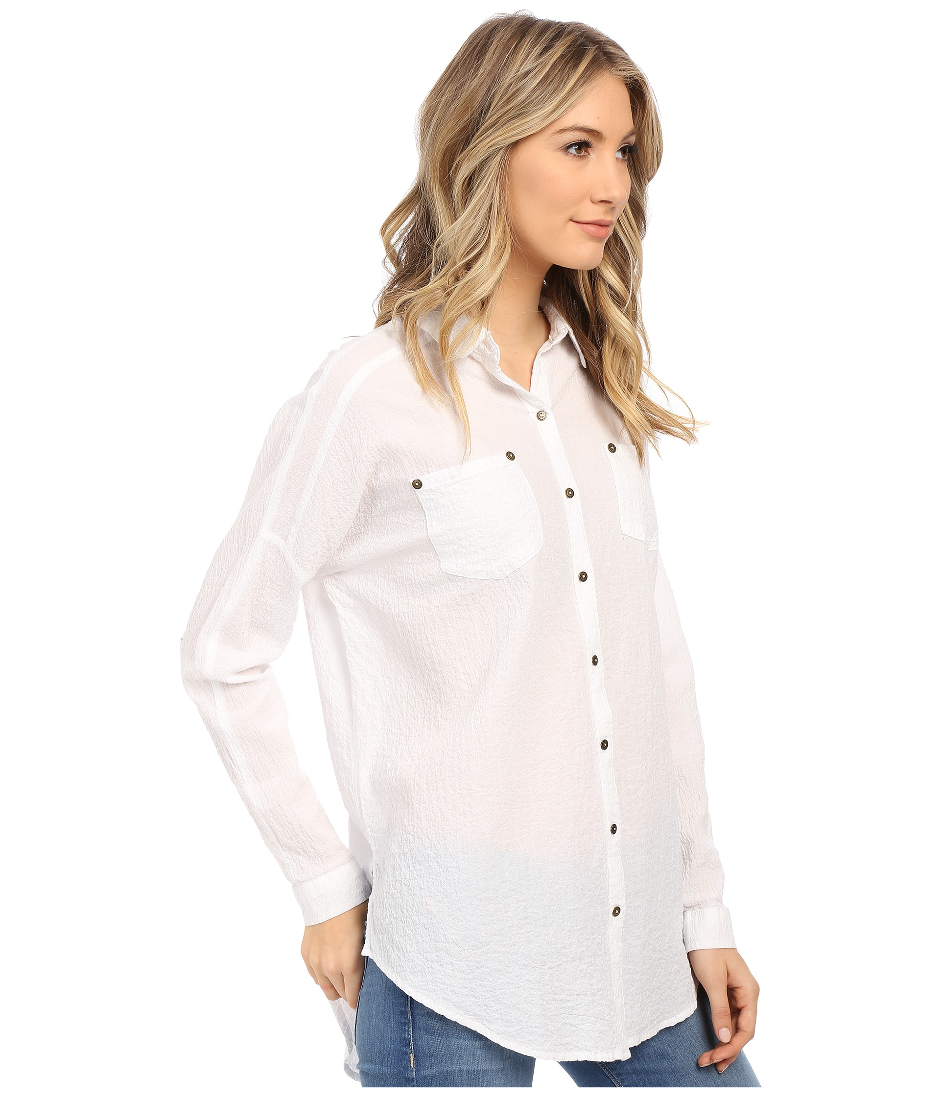efac98e950da71 Free People Lover Her Madly Button Down Shirt in White - Lyst