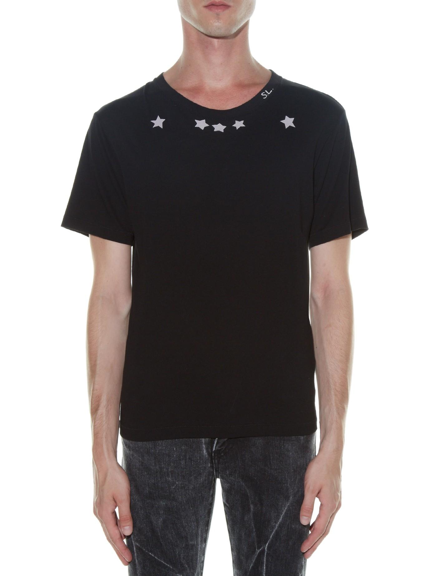 lyst saint laurent star print t shirt in black for men. Black Bedroom Furniture Sets. Home Design Ideas