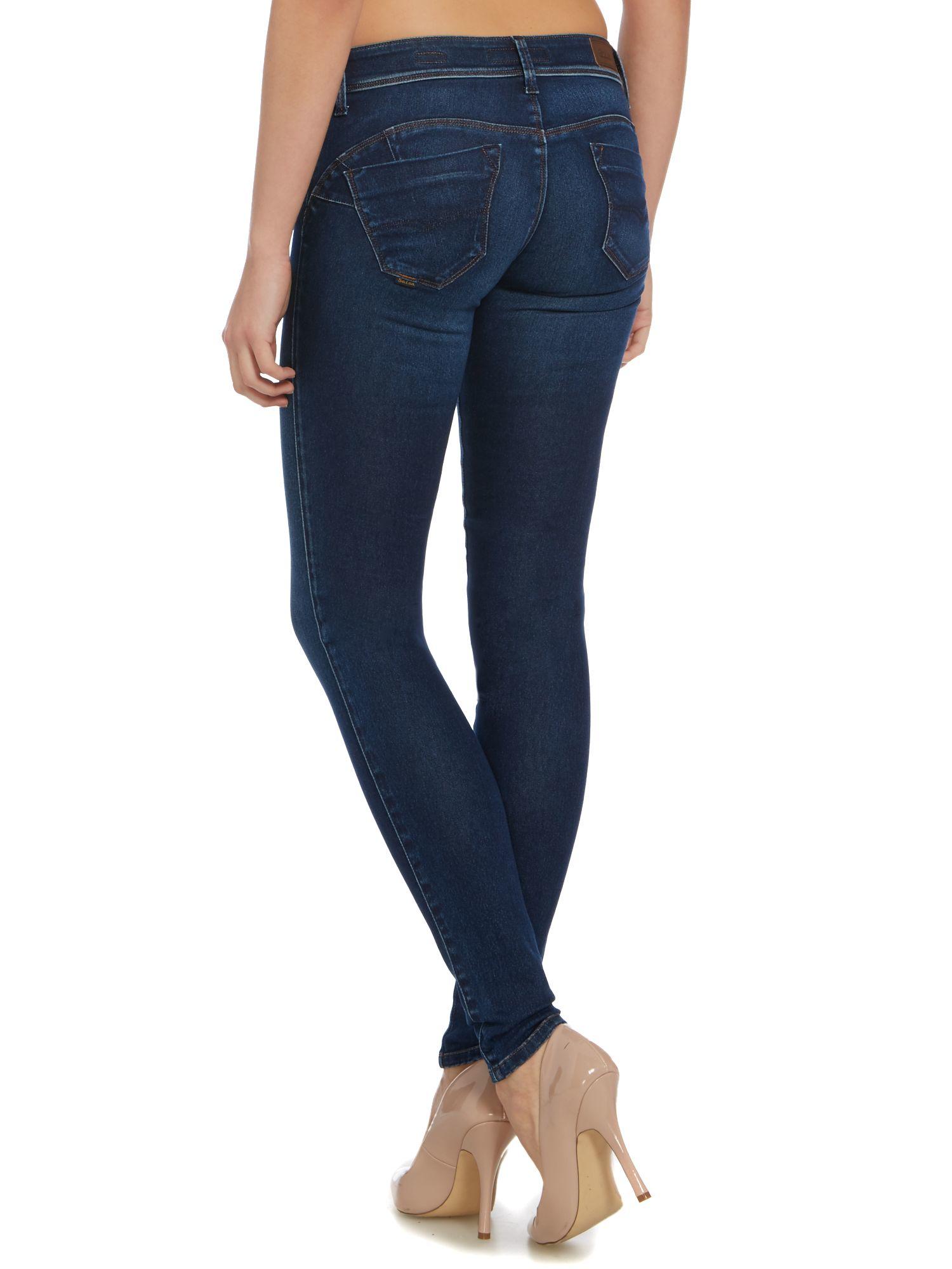 salsa wonder push up cellulite jean in denim dark wash in blue lyst. Black Bedroom Furniture Sets. Home Design Ideas