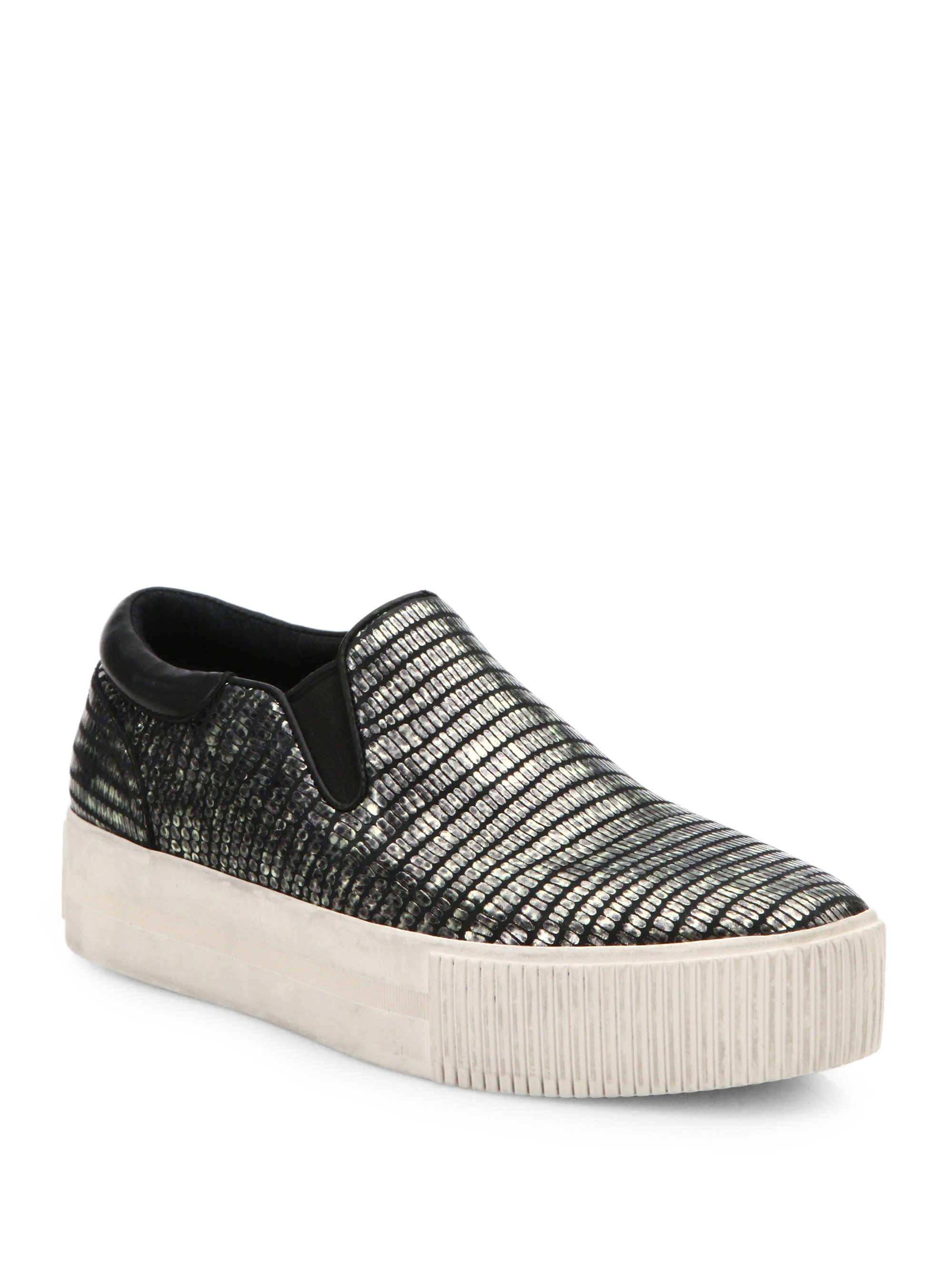 70bcdc31387ffe Lyst - Ash Karma Iridescent Leather Slip-on Platform .