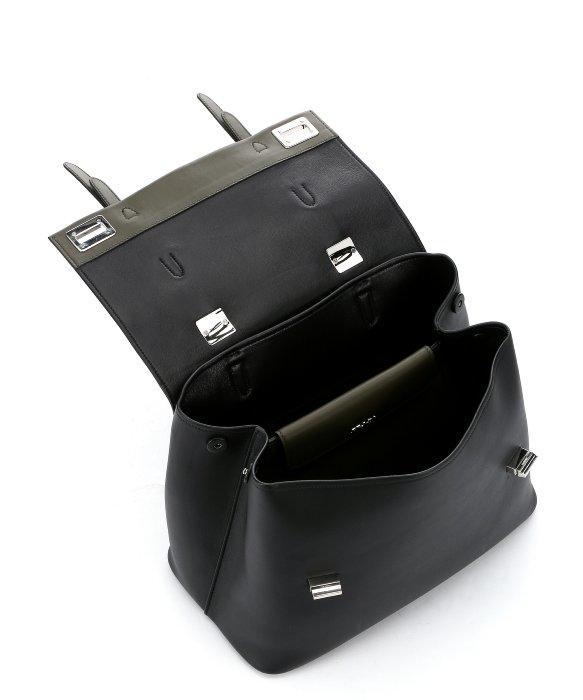 Prada Black And Military Green Calfskin Double Strap Convertible ...