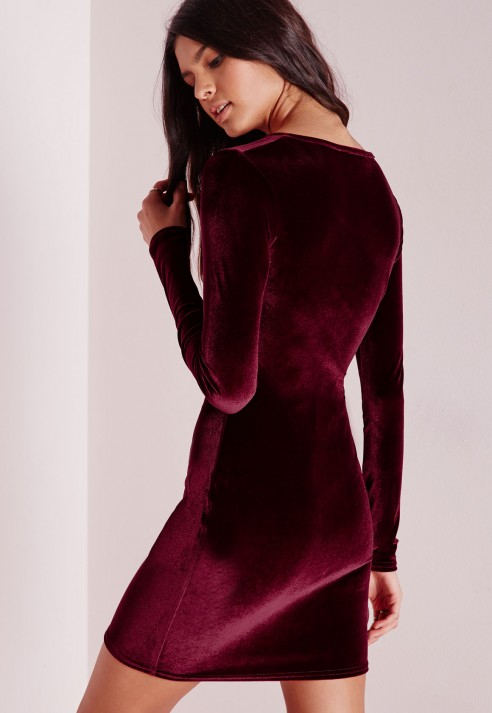 99e9618a9e71 Lyst - Missguided Tall Velvet Bodycon Dress Oxblood Red in Purple