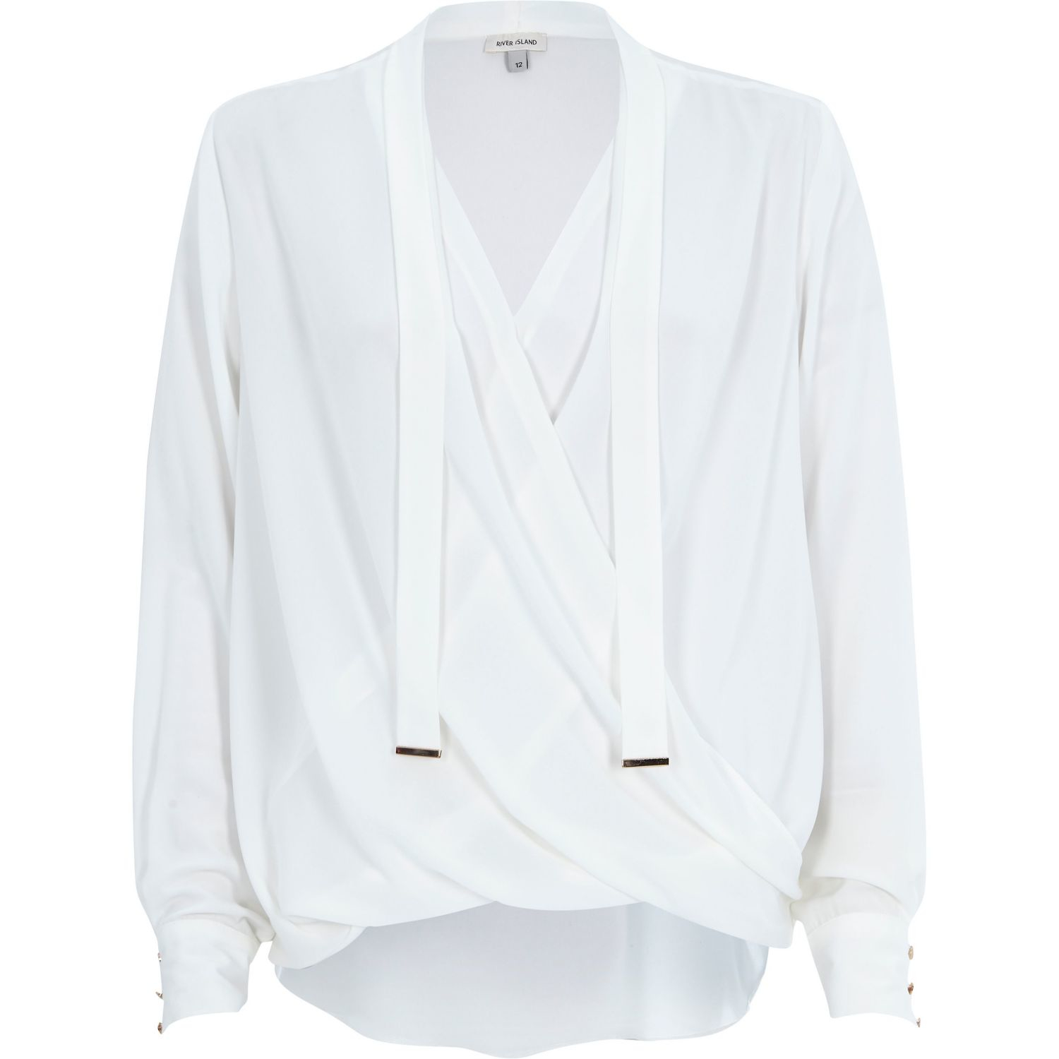 River island Cream Pussybow Wrap Blouse in White | Lyst