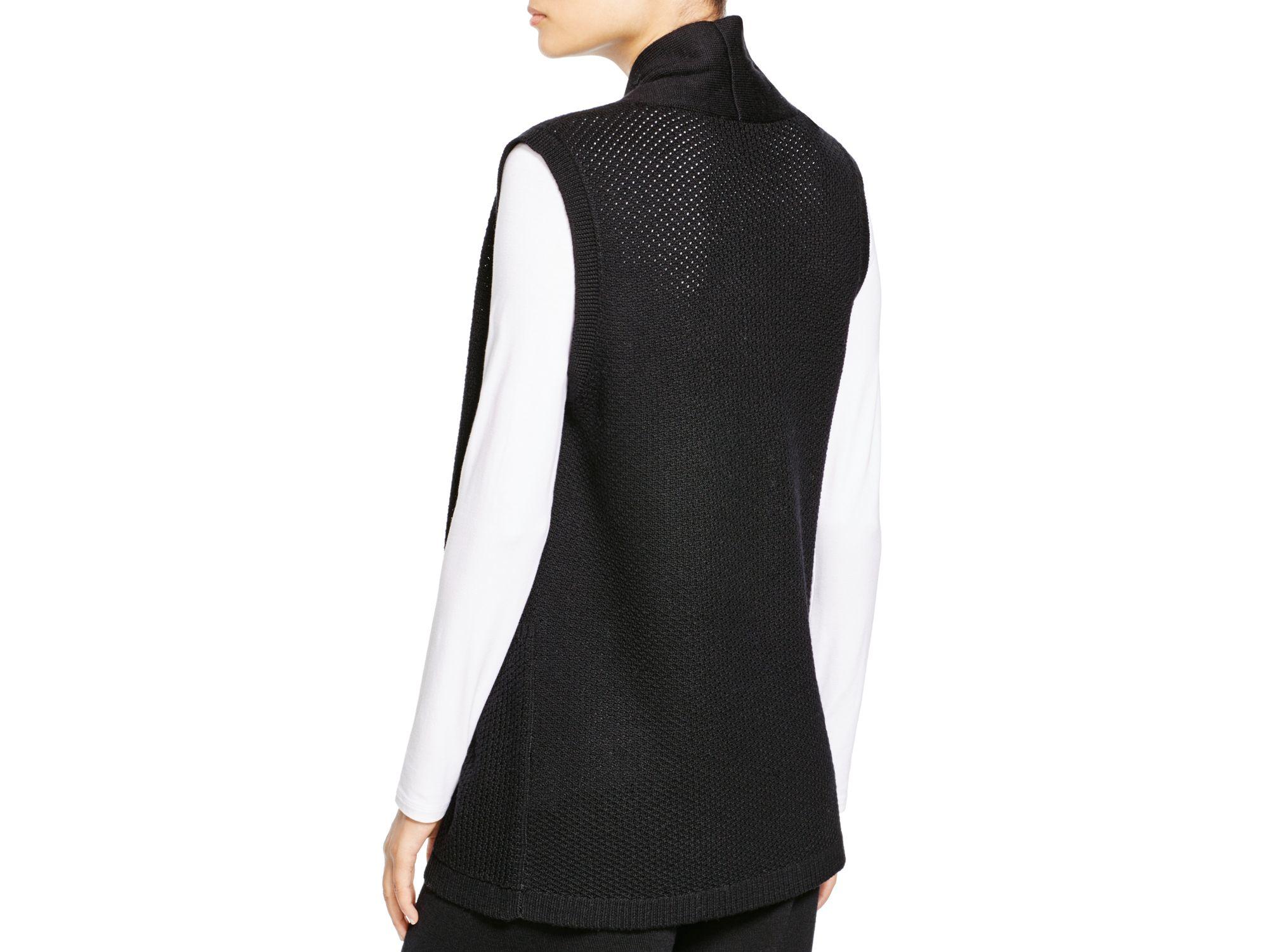 Eileen fisher Merino Wool Sweater Vest in Black | Lyst