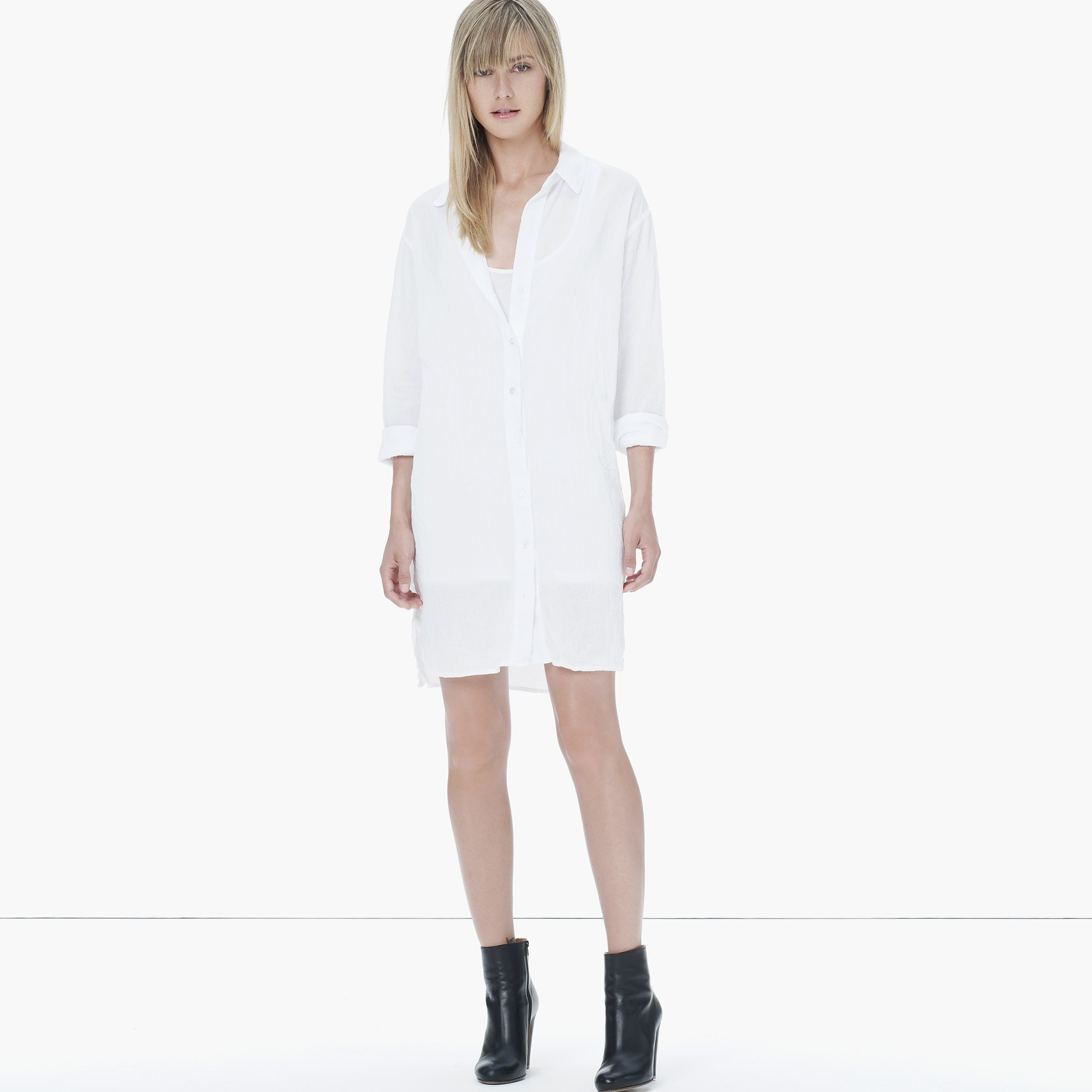 Lyst James Perse Gauze Cotton Shirt Dress In White