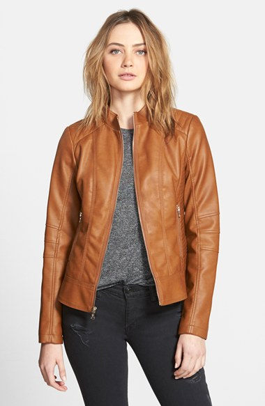 Guess Faux Leather Scuba Jacket in Brown | Lyst