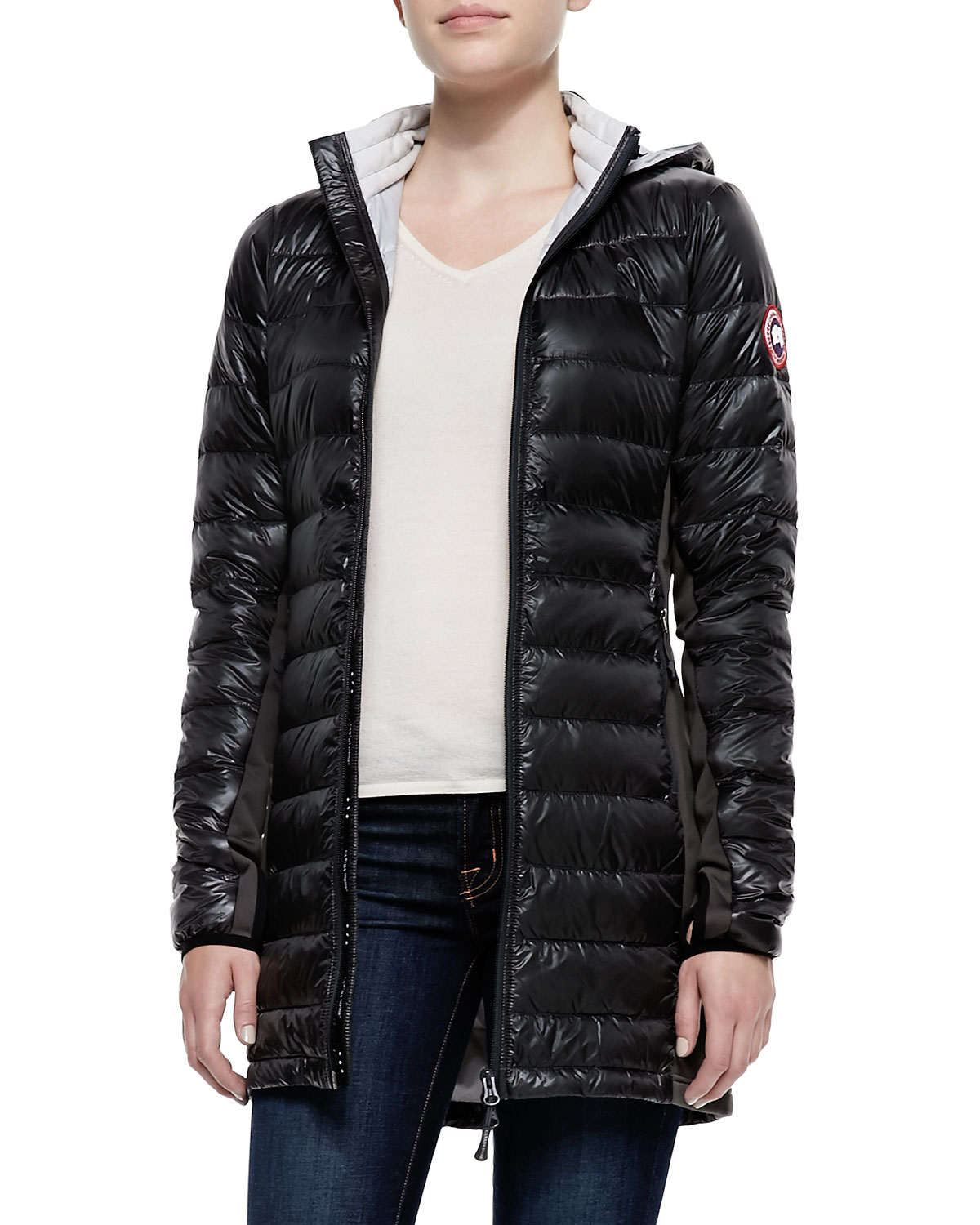 Hybridge Lite Puffer Jacket, Graphite/Red | *Neiman Marcus* | Pinterest | Puffer jackets, Canada goose and Neiman marcus