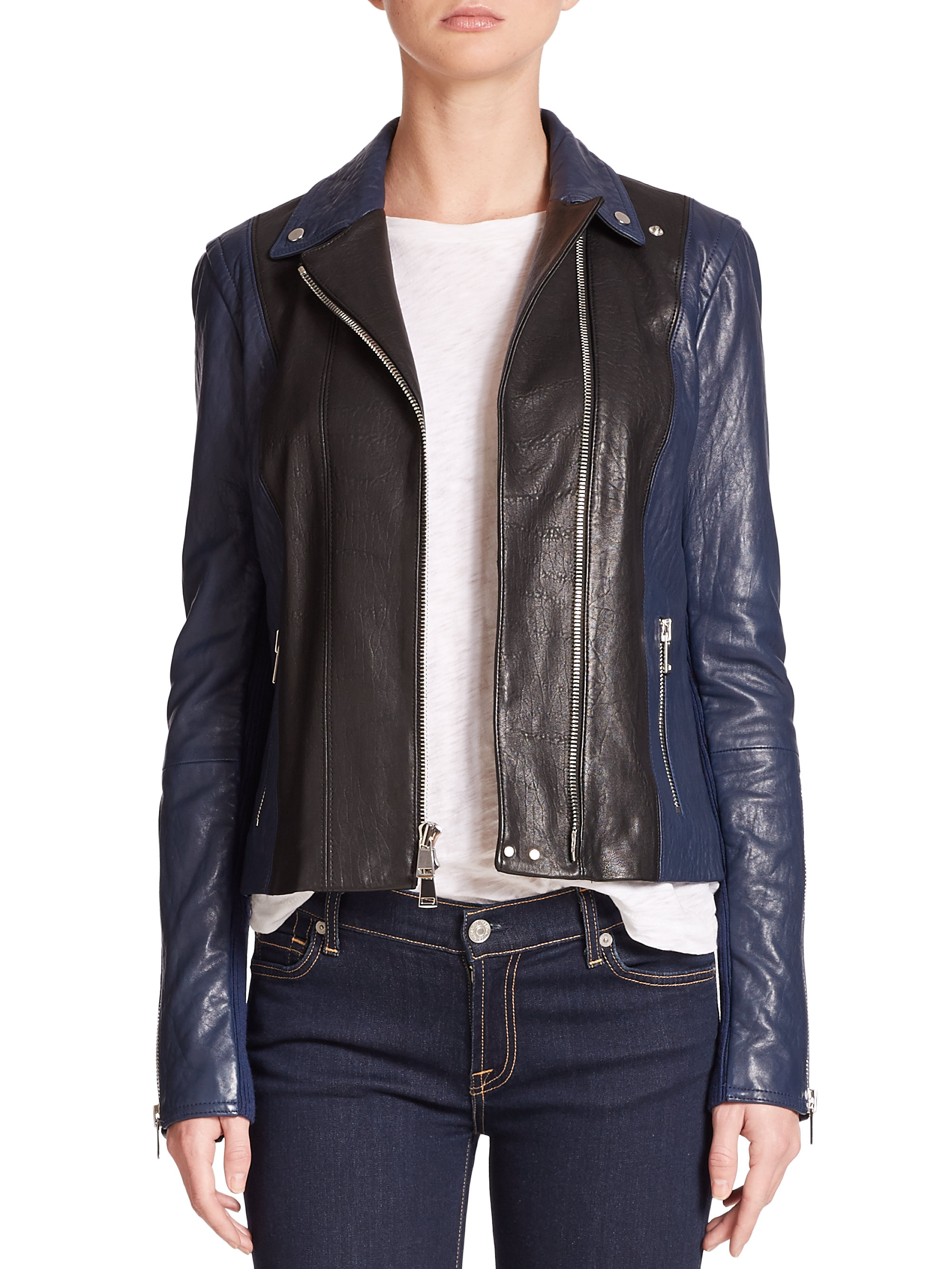 Vince Colorblock Leather Moto Jacket In Black Lyst