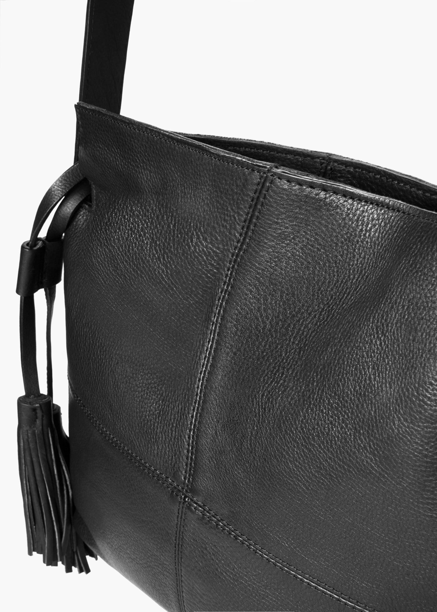 Lyst Mango Pebbled Leather Bag In Black