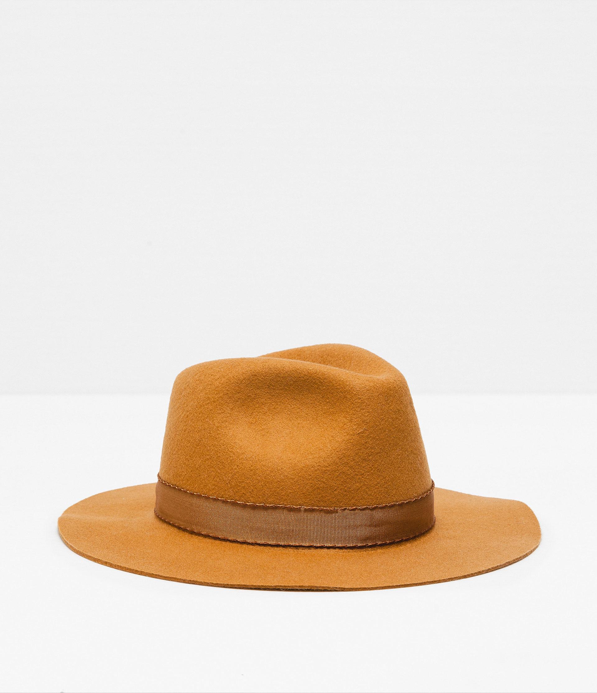 zara narrow brim wool hat in orange lyst