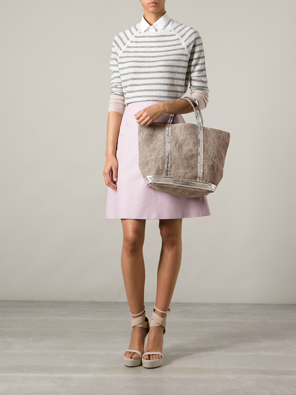 Vanessa Bruno Cabas Medium Embellished Canvas Shopper In