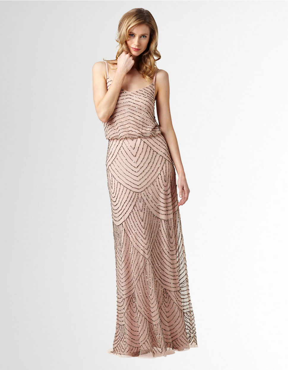 Adrianna Papell Sequined Blouson Gown In Pink