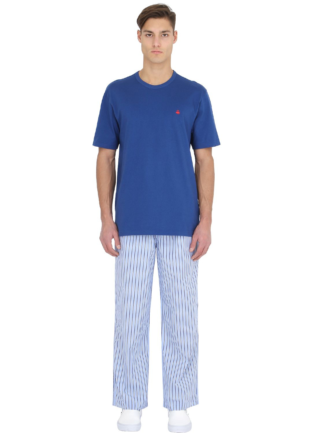 Brooks Brothers Cotton Pajama T Shirt Amp Pants In Blue For