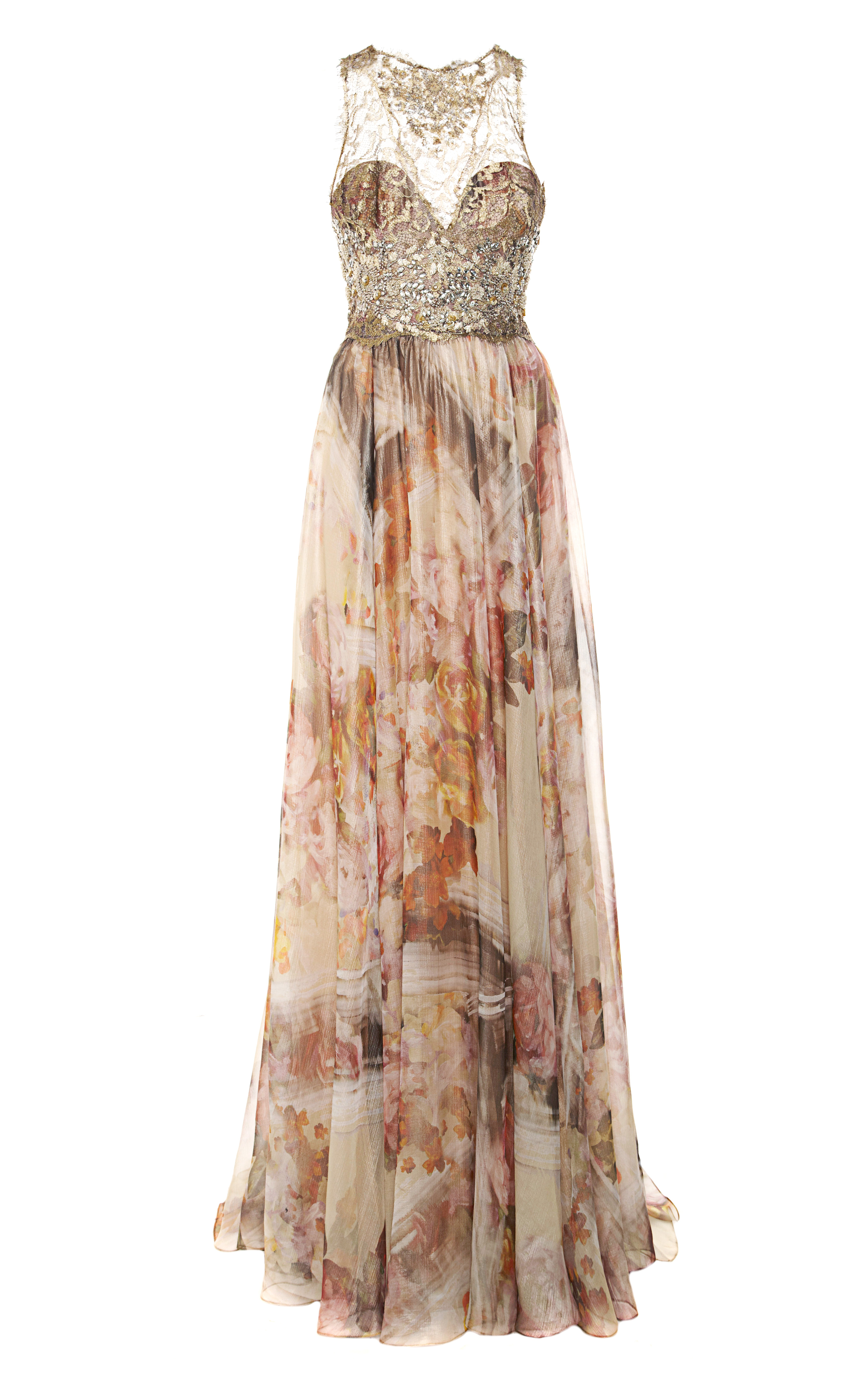 Lyst - Marchesa Gold Foil Printed Floral Chiffon Gown in Pink