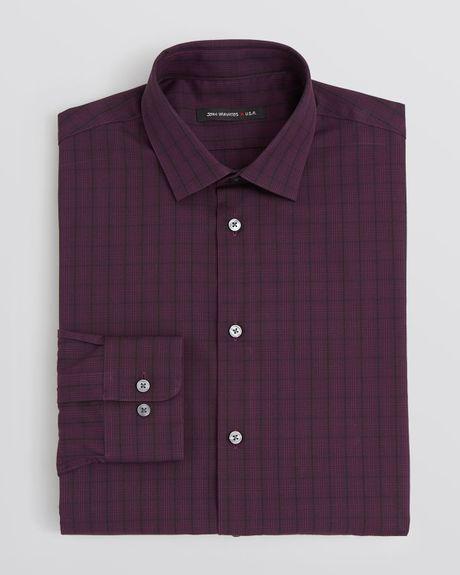 John varvatos usa plaid dress shirt slim fit in purple for for Royal purple mens dress shirts