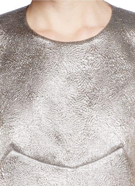 Silver Metallic Top Lamé Boxy Top in Silver