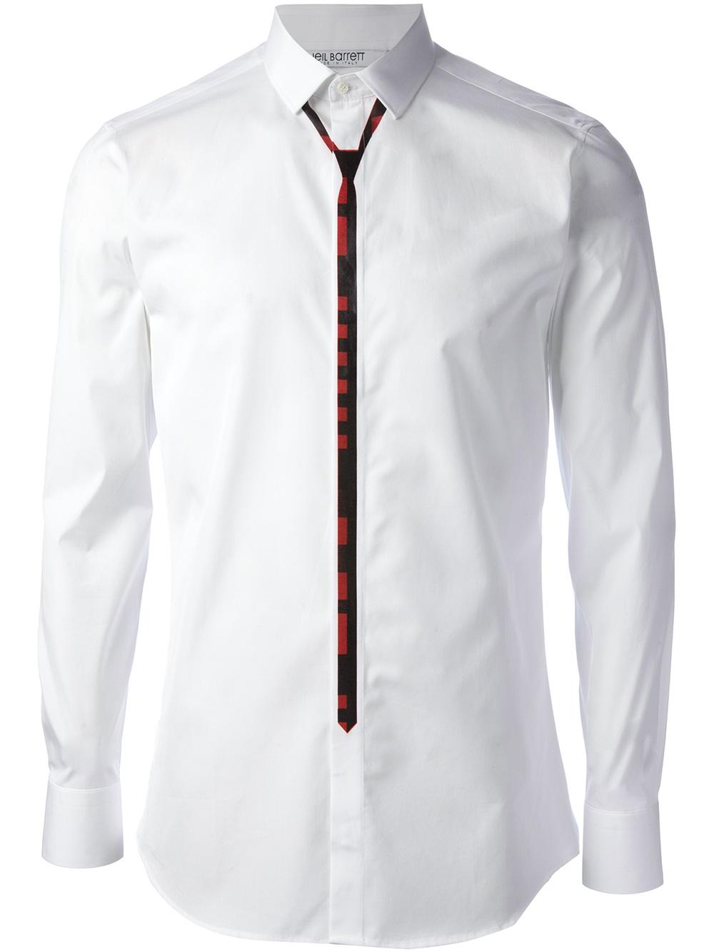 Lyst Neil Barrett Skinny Tie Print Shirt In White For Men